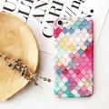 Colorido enrejado de diamante del teléfono case cover para apple iphone 7/7 más hermosa de la manera cáscara del teléfono móvil para iphone 6/6 s Plus