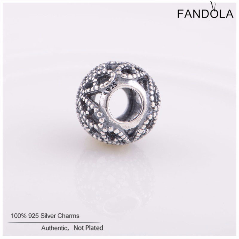 FANDOLA DIY Beads Fits Pandora Charms Bracelets 925 Sterling Silver Roses Openwork Beads for Jewelry Making Berloque 1.8G