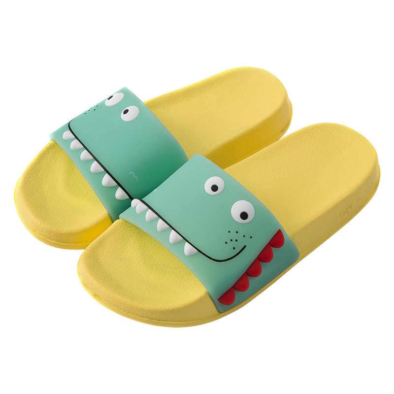 ילדי Cartoon דינוזאור נעלי בית תינוק ילד מקורה בית מצחיק גן שטוח נעלי ילדים ילדה חוף מים כפכפים סנדלים חיצוניים