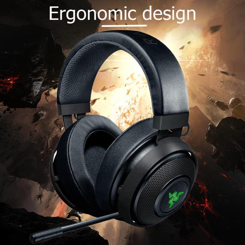 Casques de jeu Razer Kraken 2m filaire noir/blanc 32Ω 123dB casque de jeux sur l'oreille casque avec Microphone pour jeux LOL PUBG - 3