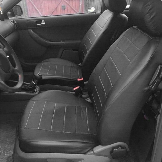 Funda de asiento de cuero PU para todos los coches, Protector de asiento de coche, SUV, camión, Airbag Compatible, 2 uds.