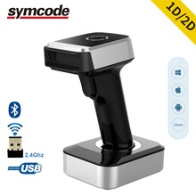 Symcode 1d 2d bluetooth scanner de código de barras sem fio, pdf 417, matriz de dados, leitor de código qr, 30 100 metros de distância de transferência sem fio