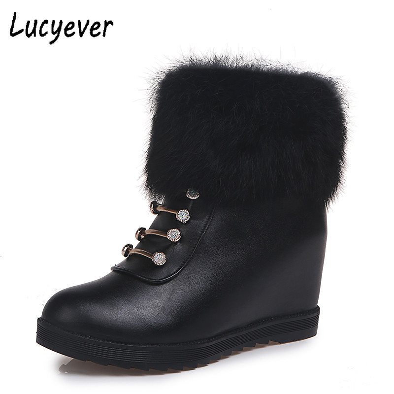 Lucyever Women Boots Female Winter Shoes Faux Fur Warm Snow Boots Ladies Height Increasing Soft Leather Ankle Boots Black White faux fur knitted bowknot snow boots