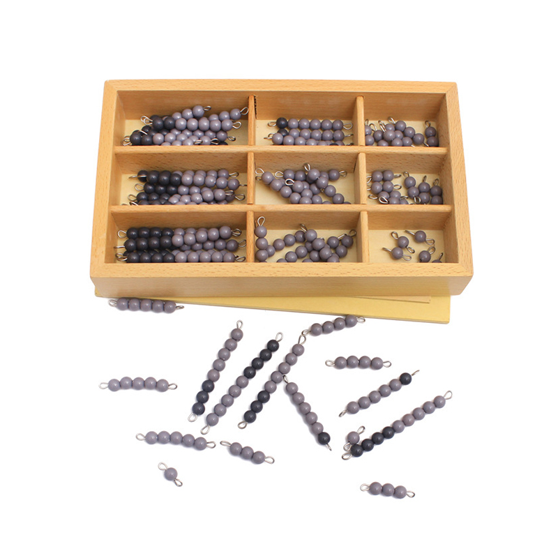 Kids Toy Montessori Early Educational Wooden Mathematics Toys Grey & Black Beads Checker Board Childhood Preschool Training Gift
