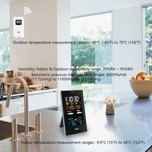 Image 5 - FanJu FJ3389 תחנת מזג דיגיטלי מדחום מדדי לחות חיישן אלחוטי LCD צבע מעורר לוח שנה קיר שולחן שעון שולחן שעון