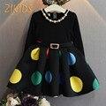 Padrão Multicor Grande Ponto Vestidos De Meninas para a Festa de Casamento e Mangas compridas Uma Linha de Cinto de Roupas de Bebê Menina Outono 2016 Hot venda