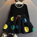 Pattern Multicolour Big Dot Girls Dresses for Party and Wedding Long Sleeves A-Line Belt Baby Girl Clothing Autumn 2016 Hot Sale