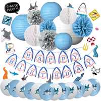 Nicro 46 pcs/set Blue Happy Birthday Shark Theme Decoration Kids Boy Girl Navy Blue Decor Party Home New Decoration DIY #Set95