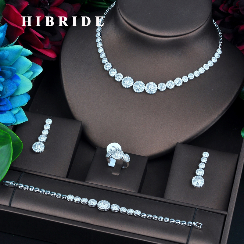 HIBRIDE New Round Micro CZ Pave Fashion Jewelry Sets For Women Necklace Earring Jewelry Accessories Party