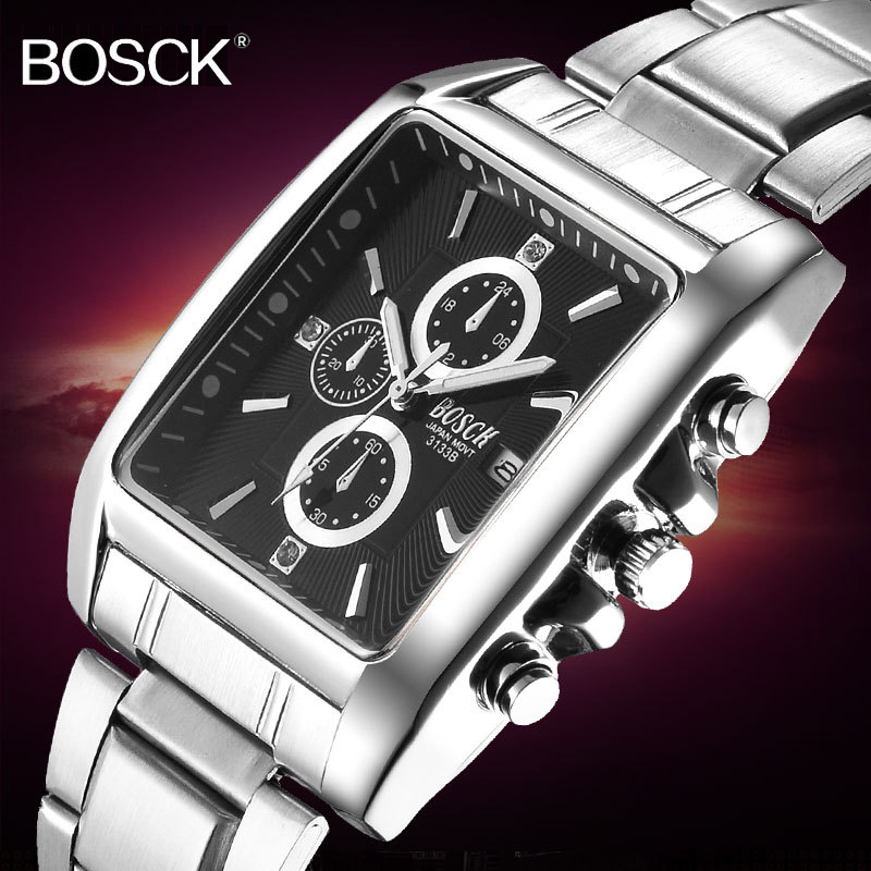 BOSCK Men Full Stainless Steel Quartz Watch Square Dial Elegant Watch Men Calendar Business Wristwatch Silver Metal Band Relogio stainless steel watch metal band quartz watch for men longbo 8833
