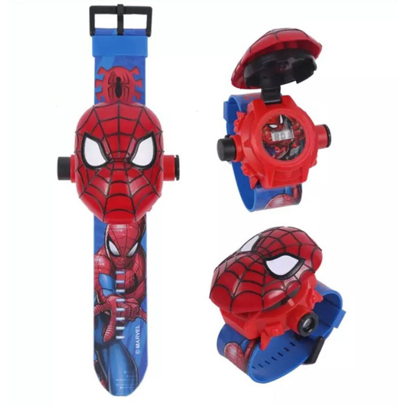 Spiderman Ironman Kids 3D Projection Cartoon Pattern Girls Watch Child Boys Digital Toys for Children Action Toy Figures image