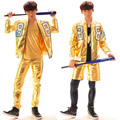 Male Singer Fashion Costume Gold Leather Jacket Pants Clothing Set Motorcycle Painting  Punk Jacket Gd Performance Wear Short