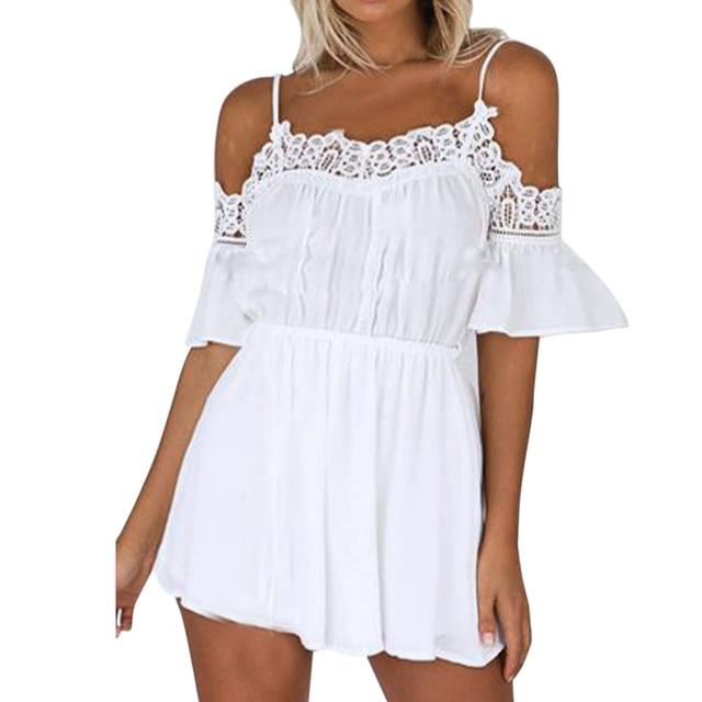 d11bd02205ae Elegant Ladies White Jumpsuit Summer Women Off Shoulder Strapless Sexy Romper  Women s Casual Beach Bodycon Jumpsuit Short  JO