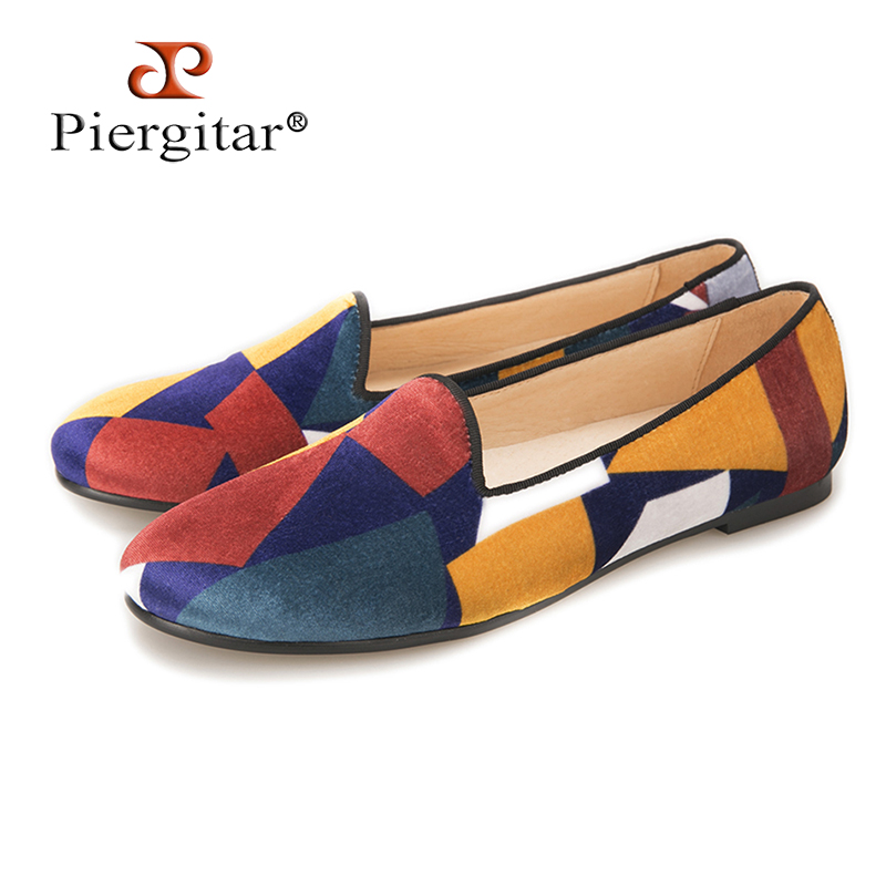 Handcraft fashion women velvet shoes with puzzle design colorful woman loafers casual flats