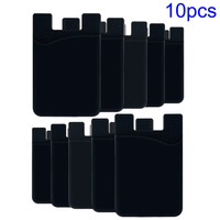 10PCS Black Mobile Phone Card Holder For Back Of Phone Adhesive Sticker Back Cover Card Holder