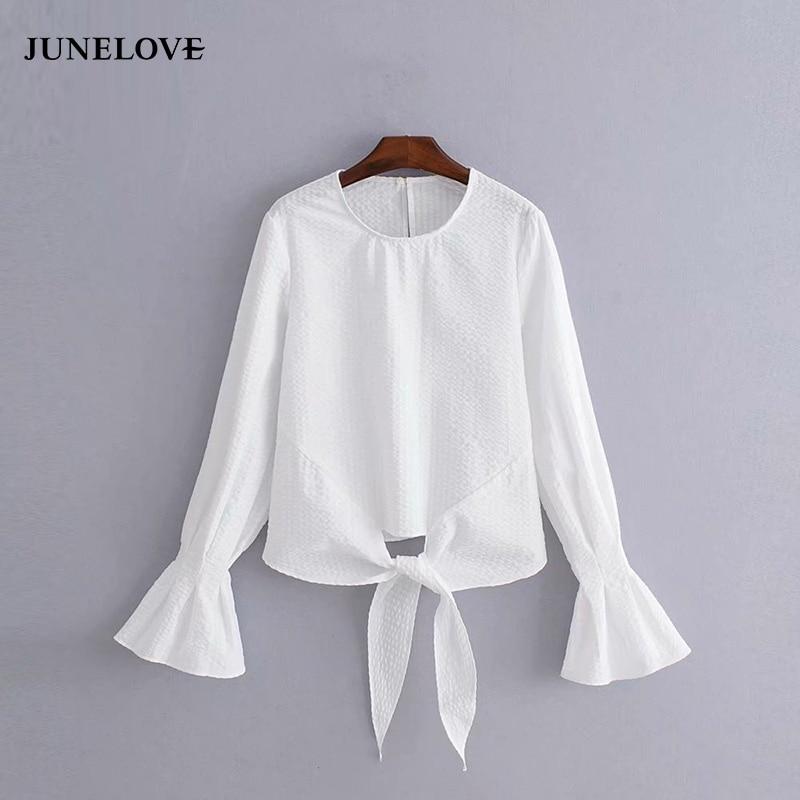 2019 novas mulheres do vintage o pescoço alargamento manga sólida bainha atada blusa feminina casual fino chique camisa branca feminina