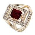 Grande anel de ouro barato para homens festa de noivado de presente vermelha strass ouro barato banhado 6-10 clássico special wedding band para mulheres