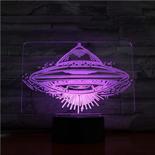 Cool Night Light UFO 3d Illusion Led Lamp with Touch Switch Color Changing Nightlight for Child Bedroom Decor Kids Birthday Gift dandelion unicorn 3d led nightlight wood base with music box dimming remoting switch little girl gift bedroom deco lamp iy804015