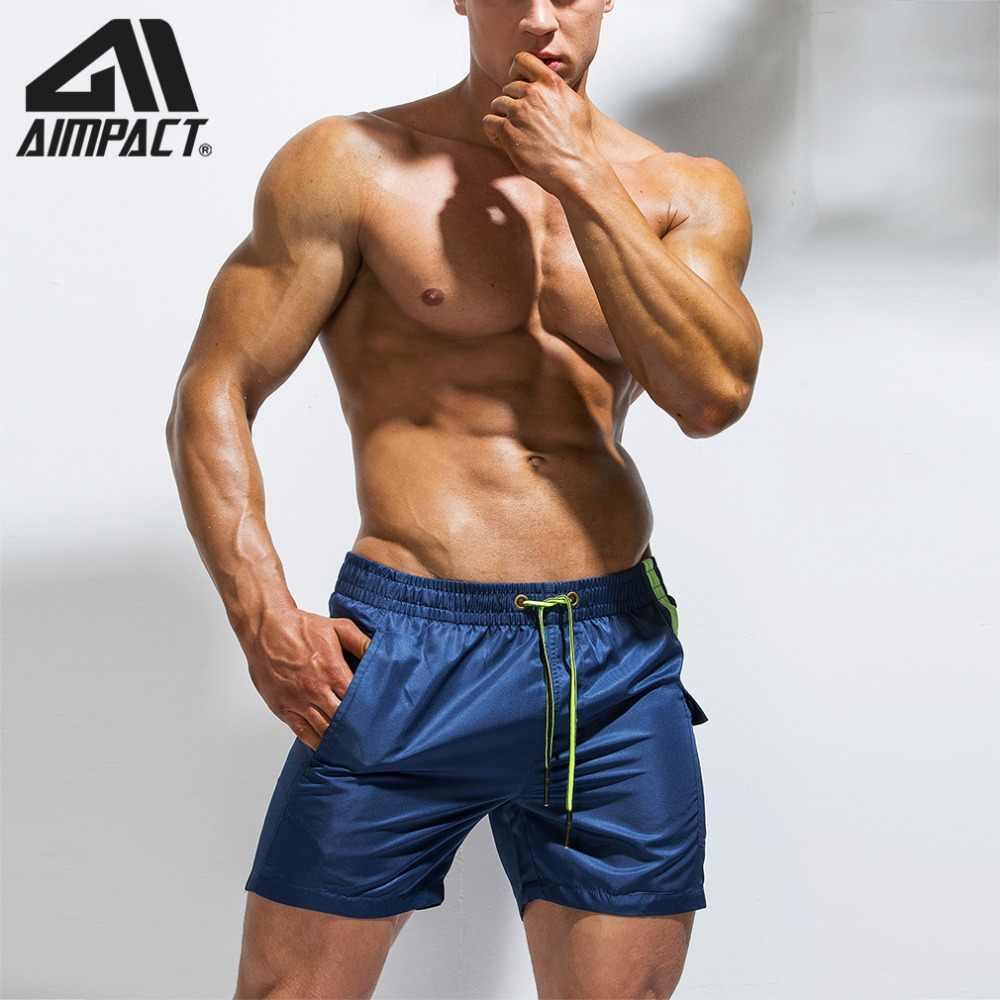 Nuevo Aimpact Patchwork hombres pantalones cortos de tabla de verano Vacaciones de secado rápido playa surf natación Trunk deporte correr hibird corto AM2171