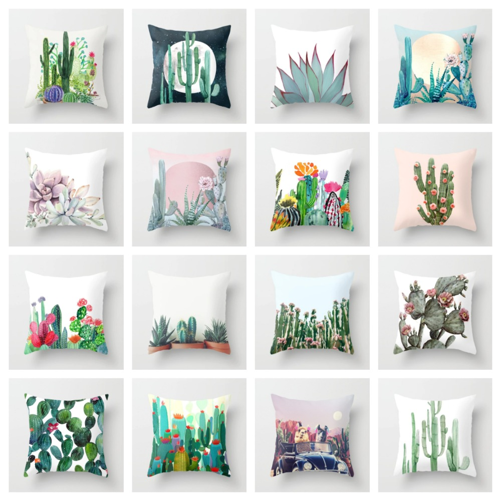 ZENGIA Cactus Succulent Cushion Cover 45x45cm Polyester Decorative Pillows Case For Sofa Throw Pillow Covers Decorative For Home