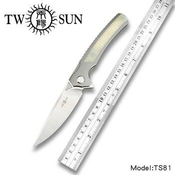 Twosun d2 лезвие складной карманный нож тактические ножи охотничий нож для выживания инструмент EDC TC4 титановый шариковый подшипник быстро откр...