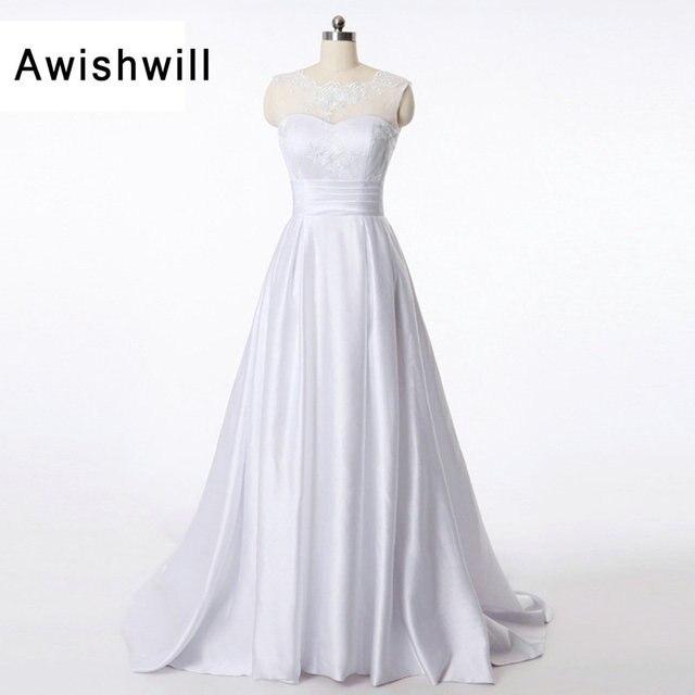 Real Image Vintage Satin Wedding Dresses 2018 Court Train Vestido de ...