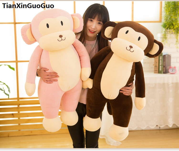 En peluche jouet grand 95 cm de bande dessinée singe en peluche jouet belle singe très doux poupée étreignant oreiller cadeau d'anniversaire b0780