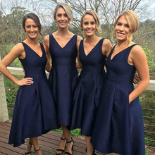 New Arrival Navy Blue Bridesmaid Dresses 2017 Lovely V Neck Pleats Tea Length Maid of Honor Dresses for Wedding Custom Made