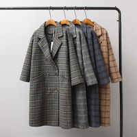 autumn and winter women's coat casual plaid double breasted long coat