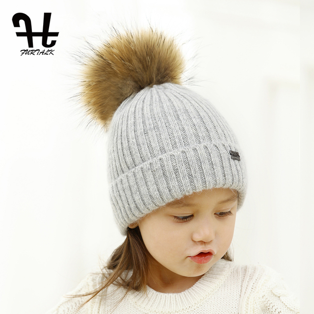 FURTALK Real Raccoon Fur Ball Winter Hat Knitted Pom Pom Cap kids Beanie Hat  For Unisex Kids Ages 4-12 b16955cb8bd