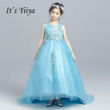 It's yiiya Blue Beading Illusion Flower Girl Dress For