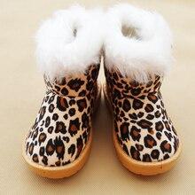 Mode Enfants D'hiver Chaussures Léopard Enfants Bottes de Neige pour Filles Garçons chaussures Chaudes Occasionnels En Peluche Enfant boot Bébé En Bas Âge Chaussures