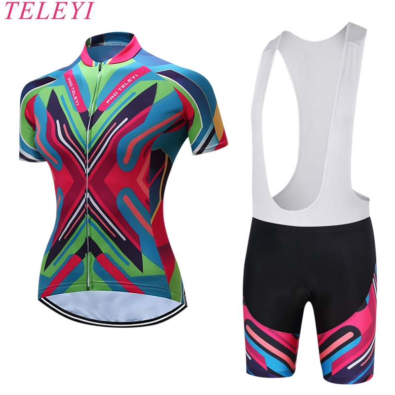 TELEYI Adina Short Sleeve Breathable MTB Bike Clothing Women Bicycle Clothes Ropa Ciclismo 100% Polyester Cycling Jersey