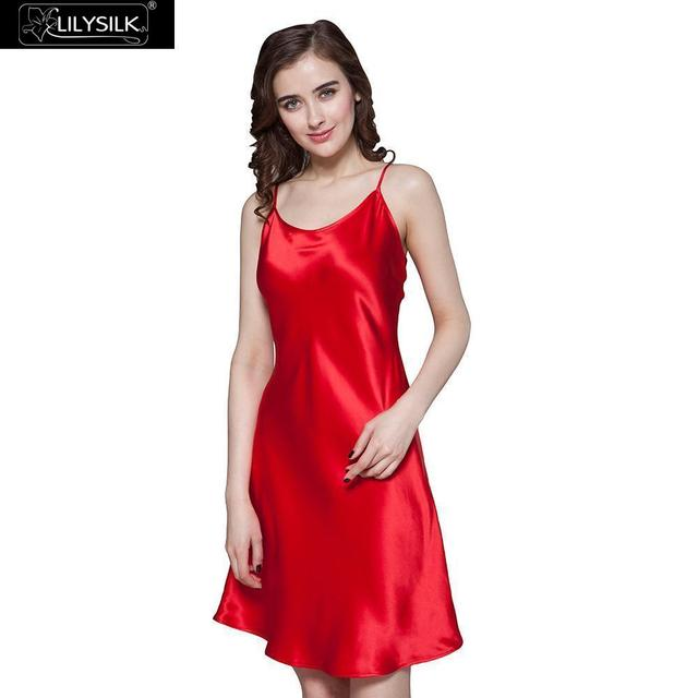 Lilysilk 100% Silk Nightgown Women 19 Momme Pure Sleepwear Short Feminine Silk Nightgown M Red