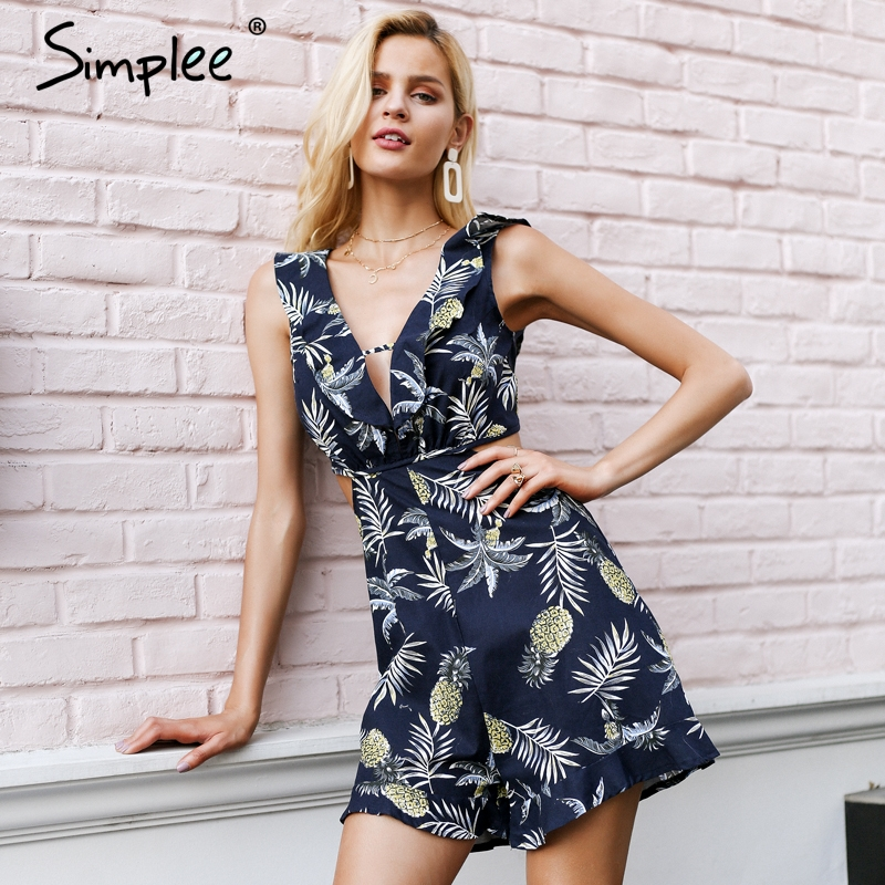 Simplee Sexy ruffle floral print   jumpsuit   romper Women deep v neck backless overalls Causal hollow out summer beach playsuit