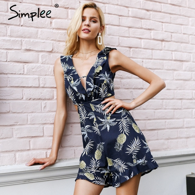 293ac920d25 Simplee Sexy ruffle floral print jumpsuit romper Women deep v neck backless  overalls Causal hollow out