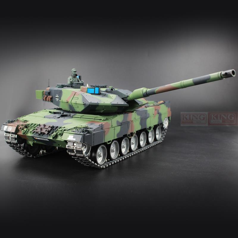 <font><b>Heng</b></font> <font><b>Long</b></font> <font><b>1/16</b></font> Germany Leopard 2A6 Green <font><b>RC</b></font> <font><b>Tank</b></font> Green Ultimate metal version With Smoke, Sound and BB Gun - 2.4GHz Version image