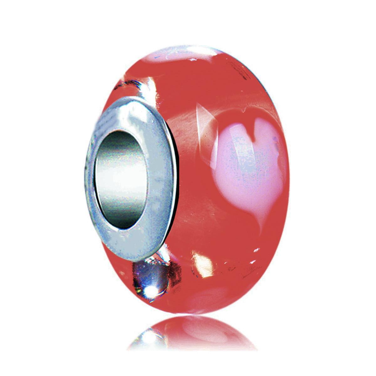 399cd7288ccc Cuentas de 925 Plata de ley Rosa corazón rojo Murano cristal encanto Ajuste  Original Pandora ...