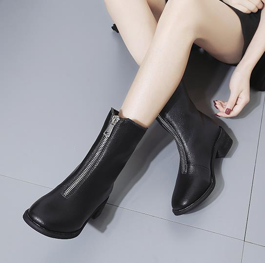 e11a1a748 Novas Frente Cor Cabeça Zipper E Das Martin De Mulheres Inverno Baixos  Sapatos Botas Redonda Curto ...