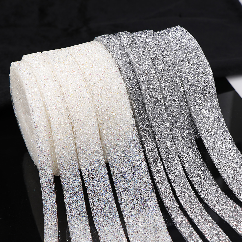 1 Yard Sewing Trim Crystal Motif Strass Hot Fix Shining Resin Rhinestone Ribbon Appliques For Dresses Clothes Shoes 1/1.5/2/3cm