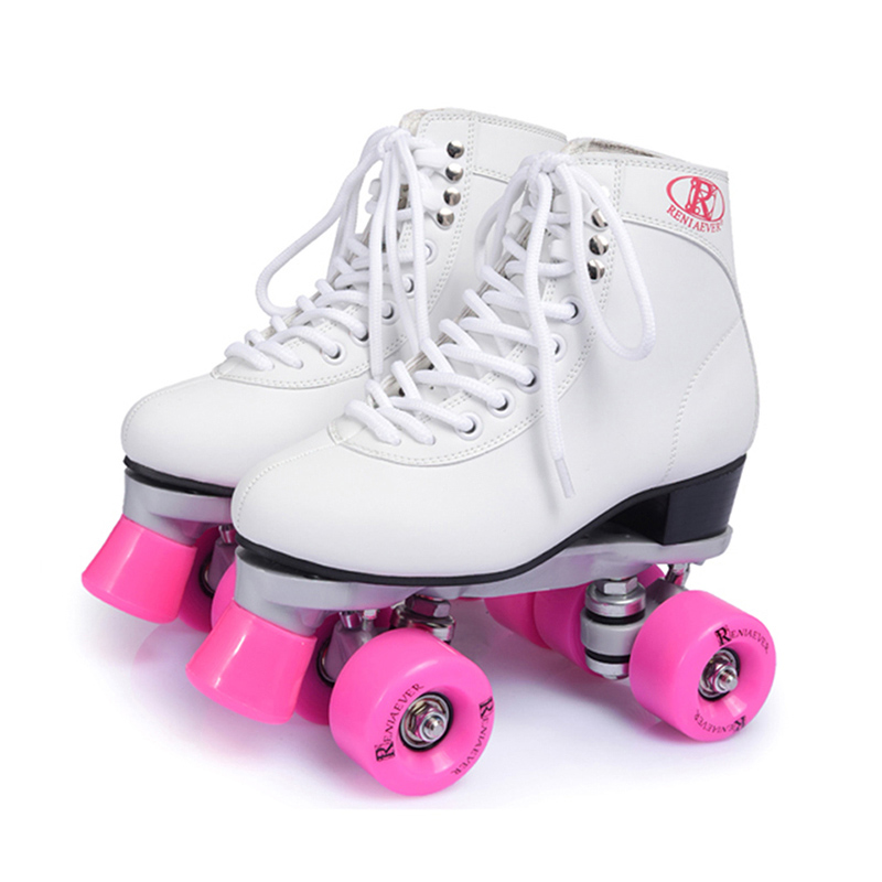 BSTFAMLY Roller Skates Geniune Leather Double Line Skate Pink Men Women Adult Pink PU 4 Wheels Two Line Skating Shoes Patines C4 black roller skates double line skates men women lady model adult pink f1 racing 4 wheels two line roller skating shoes patines