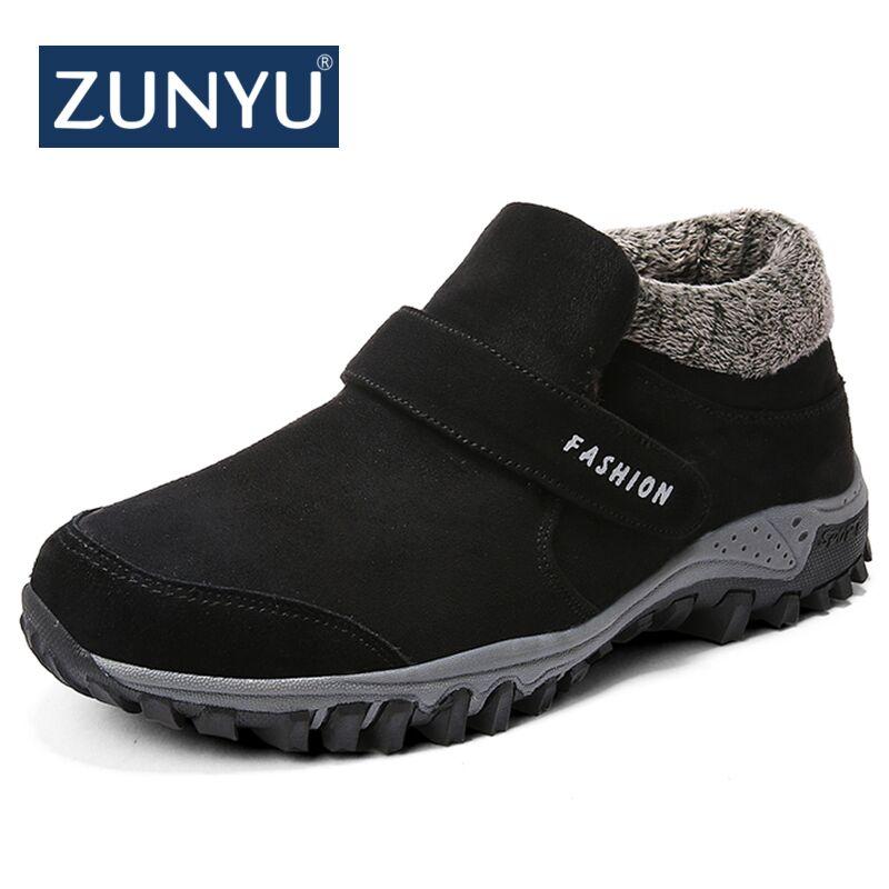 ZUNYU 2018 Neue Männer Stiefel Winter Pelz Warme Schnee Stiefel Casual Männer Winter Stiefel Arbeit Schuhe Männer Schuhe Mode Plüsch stiefeletten