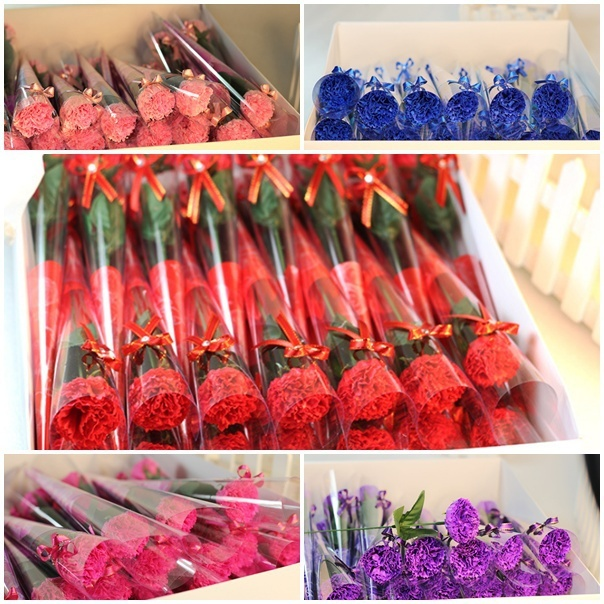 60 X Creative Soap Flowers Mother Birthday Party Decoration Gifts Single Carnation Artificial For