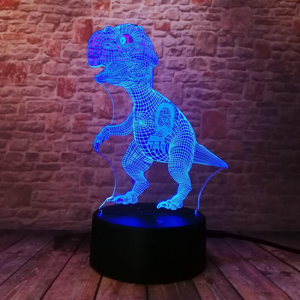 Yeni Unikal Tirannosaurus Rex Dinosaur Dragon 3D 7 Rəng - Gecə işığı - Fotoqrafiya 3
