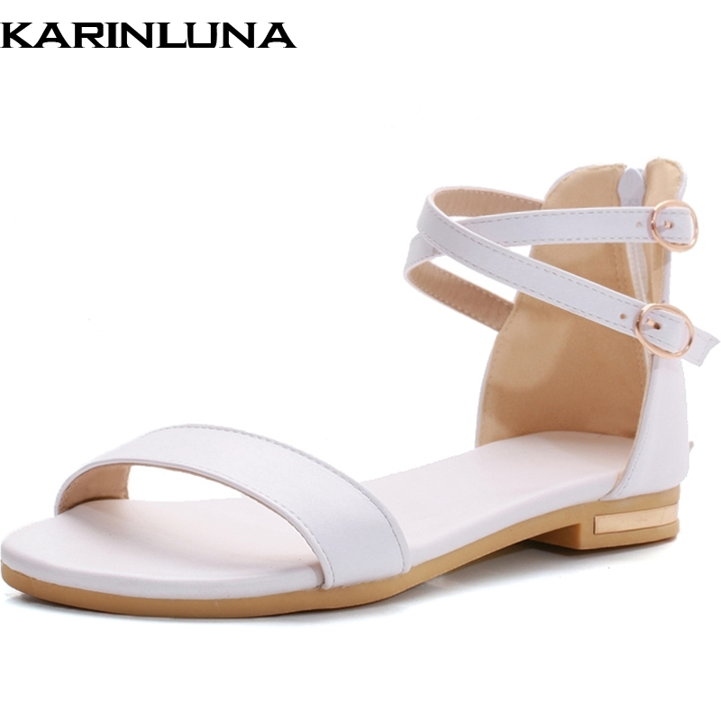 Vintage Style Women Sandals Open Toe Casual Dress Shoes Ladies Flat Heel Ankle Straps Summer Shoes Female Sandals Big Size 34-43 new 2018 women open toe flip flops fashion ankle strap gladiator sandals women big size 34 43 ladies casual flat rome sandals
