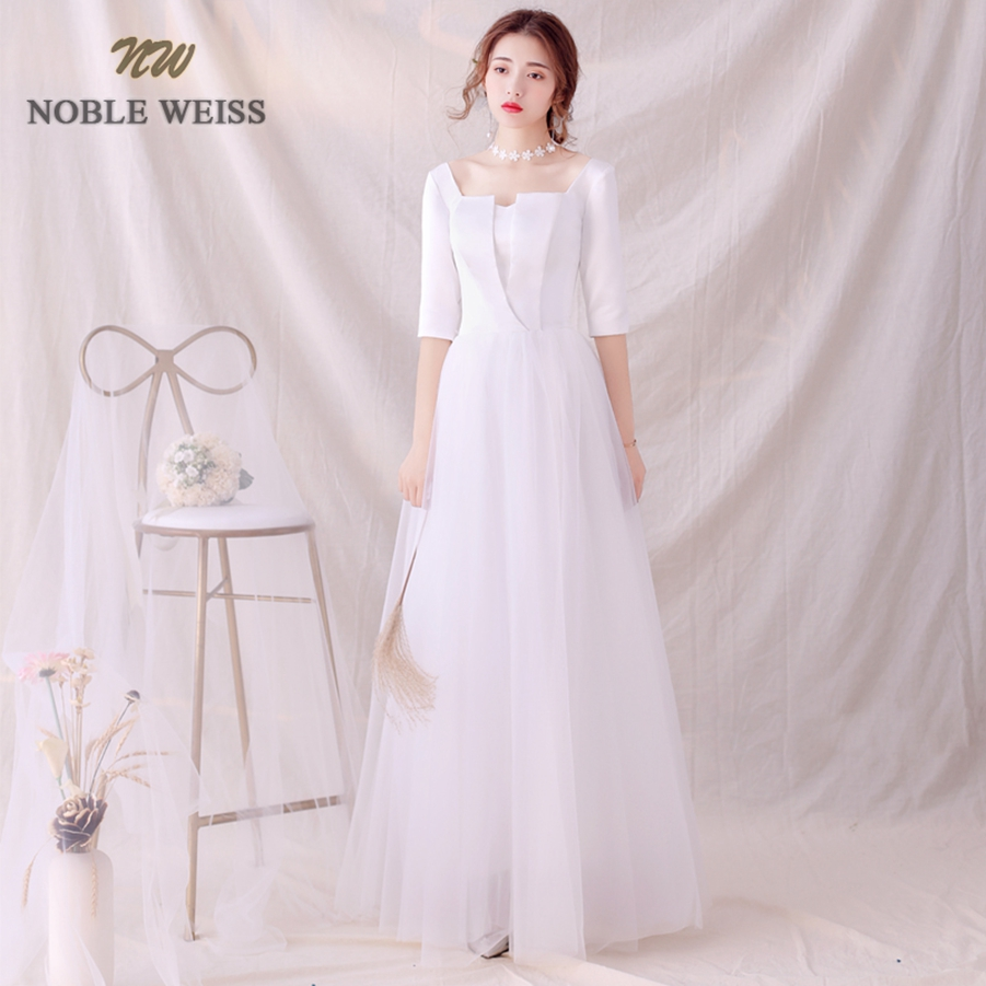 Wedding Dresses Tulle A-line Simple Wedding Dress Sexy Floor-length Bridal Dresses With Half Sleeves Wedding Gown