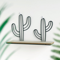 1 PCS Creative solid wood wall shelf wrought iron cactus wall hanging simple bathroom free punch flower shelf AP10261615