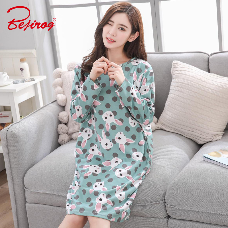 Bejirog women nightwear 2018 plus size Nightgown female sleepshirt milk  silk sleepwear sleep clothing autumn long sleeve pijamas-in Nightgowns    Sleepshirts ... 9edc5b674