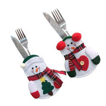 Hot Mooie Sneeuwpop Servies Houder Pocket Diner Bestek Bag Party Kerst tafel decoratie Bestek sets(China)