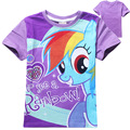 New 2016 girls Cartoon Print Summer Short Sleeve T Shirt  Girls Tops Tees Kids Children Clothes